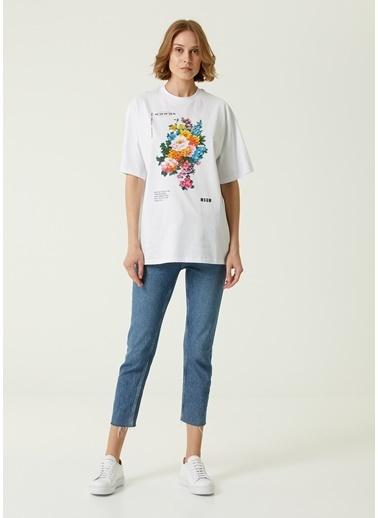 MSGM MSGM  Bisiklet Yaka Baskılı T-shirt 101602566 Beyaz